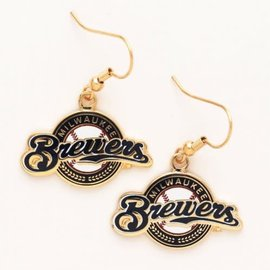 Milwaukee Brewers Circle logo dangle earrings