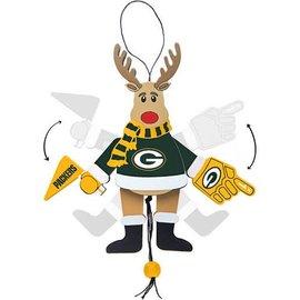 Green Bay Packers Wooden Cheer Reindeer Ornament