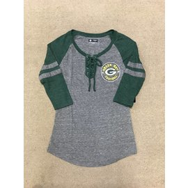 Green Bay Packers Women's Triblend 3/4 Sleeve Tee With Laced Up Placket
