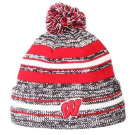 Wisconsin Badgers Titanium Cuffed Knit with Pom
