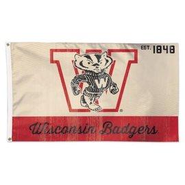 Wisconsin Badgers 3x5 flag Vintage Logo