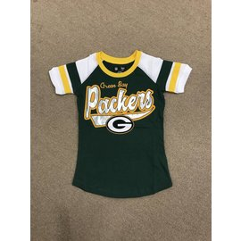 Green Bay Packers Youth Girls Scoop Neck With Arm Stripes Short Sleeve Tee