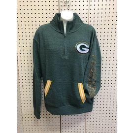 5th &  Ocean Green Bay Packers Women's Triblend Fleece 1/2 Zip