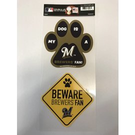 Milwaukee Brewers Double Up Pet Themed Die Cut Sticker