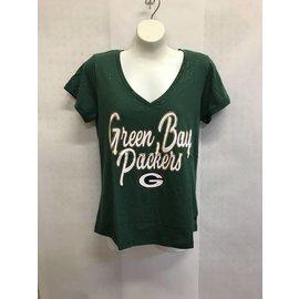 Green Bay Packers Women's Glitter Print V Neck Short Sleeve Tee