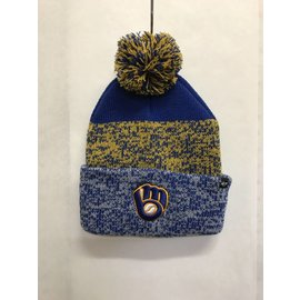 Milwaukee Brewers Royal Static Cuff Knit Hat With Pom
