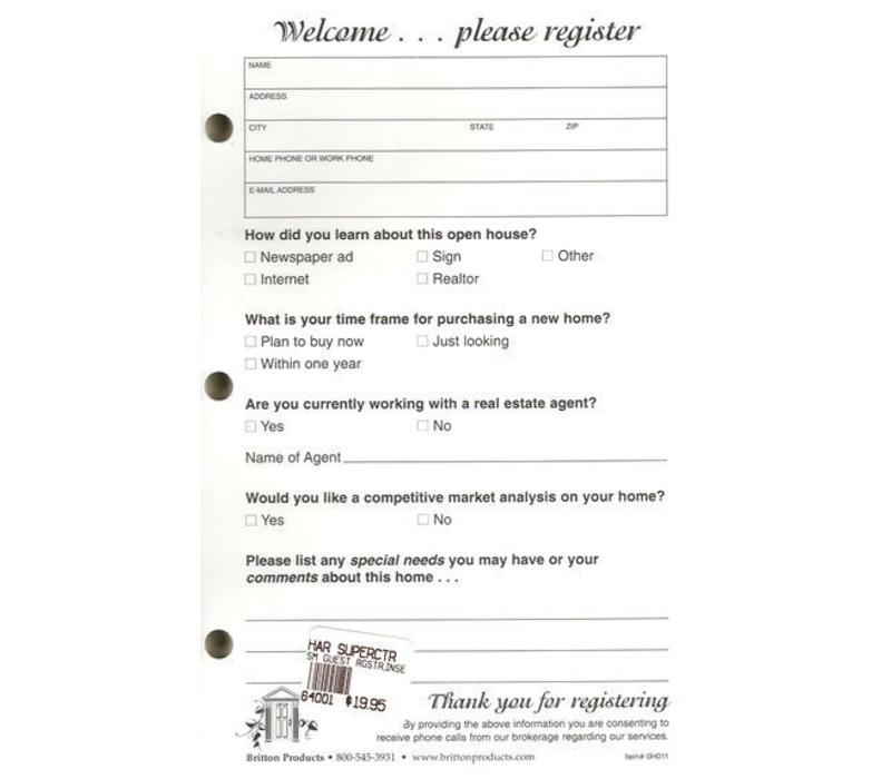 Open House Register Refill- Small