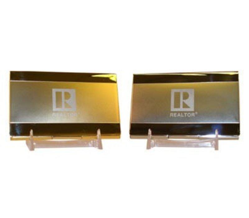 N/A Realtor R Business Card Holder - Brass
