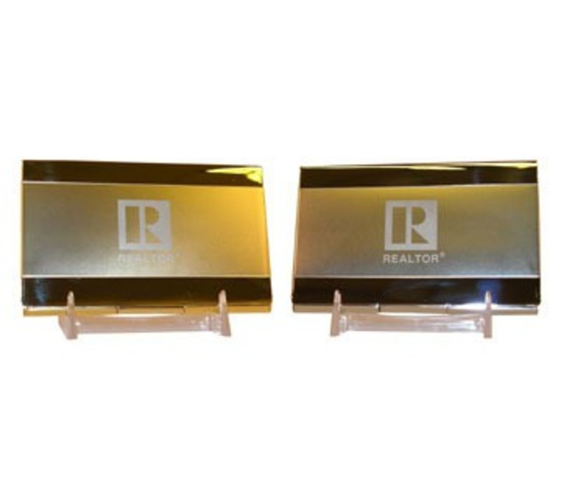Realtor R Business Card Holder - Brass