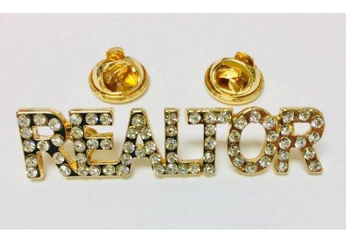 Realtor Pin - Crystal - Gold - Sm