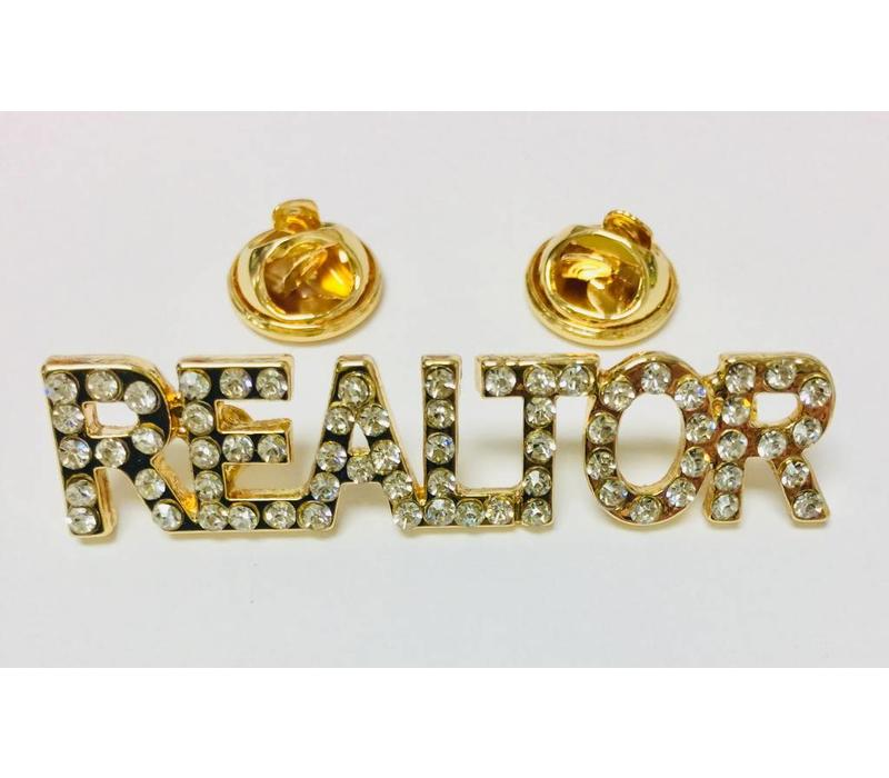 Realtor Pin - Crystal - Gold - Sm