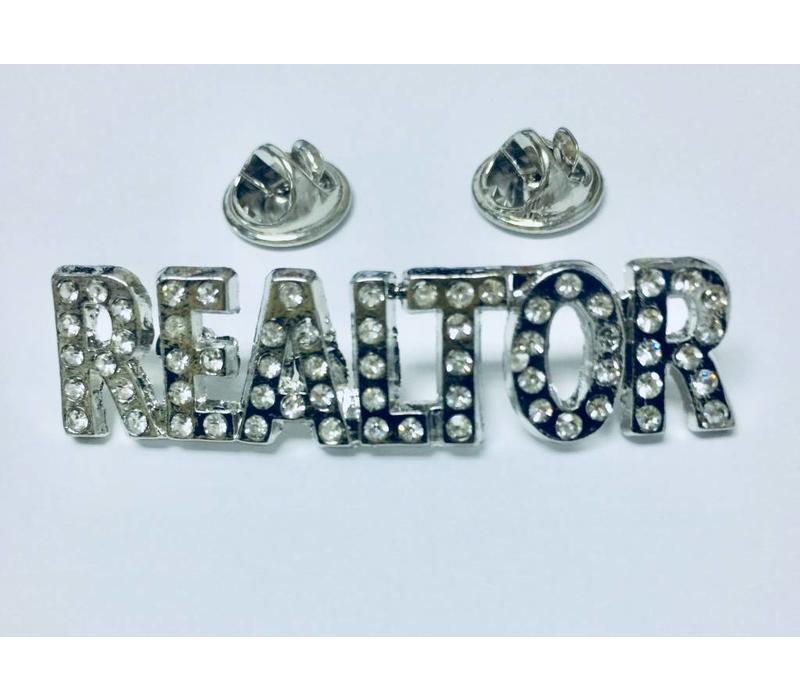 Realtor Pin - Crystal - Silver - Sm