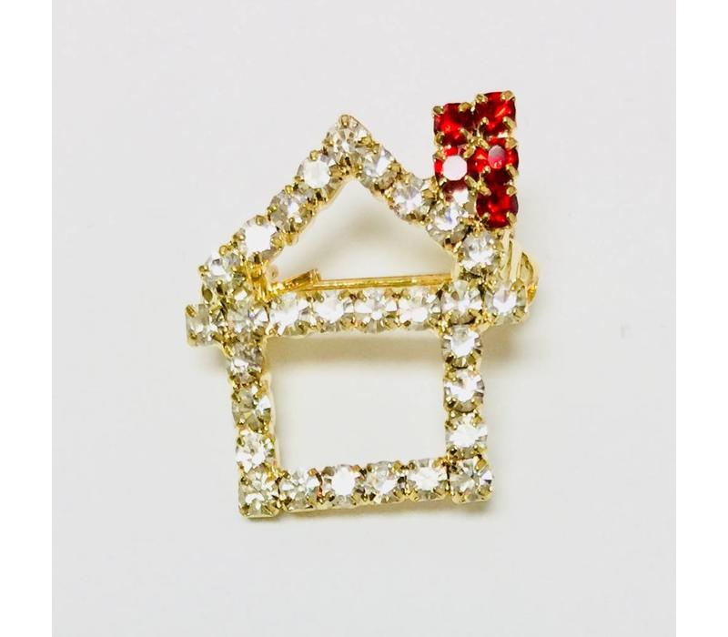 Pin - House - Crystal w/Red Chimney - Small