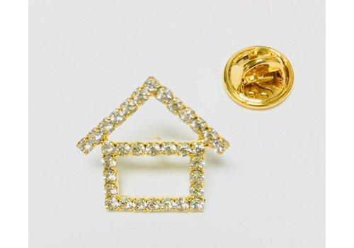 Pin -  House - Crystal - Gold - Sm