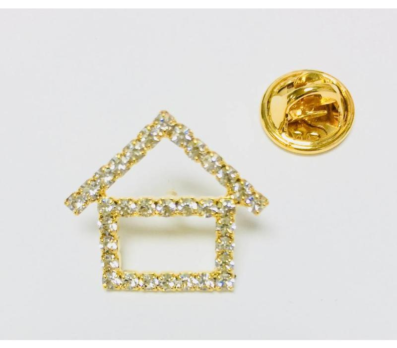 Pin -  House - Crystal - Gold