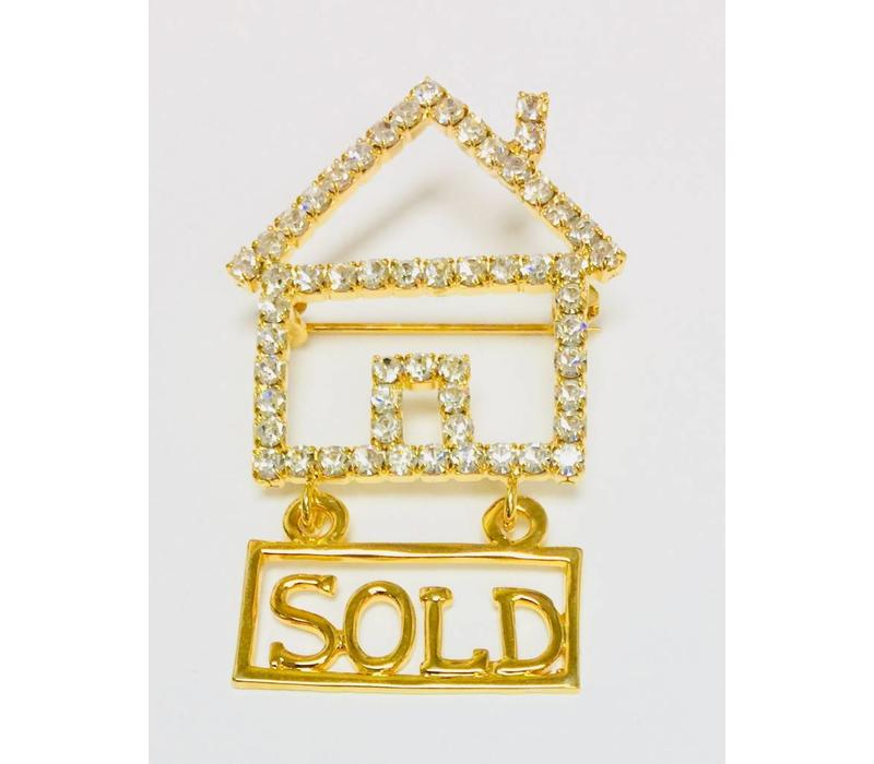 Pin - House - Crystal - Sold - Gold - Large