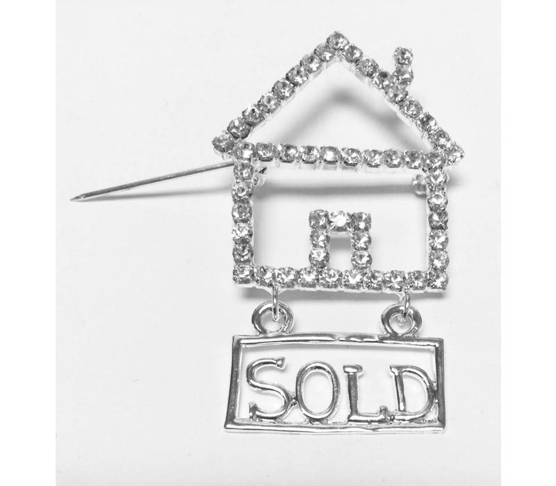 Pin -  House - Crystal - Sold - Silver - lg