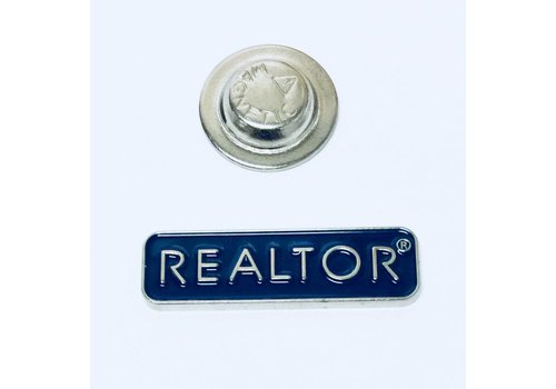 Realtor Pin - Rectangle - Silver/Blue