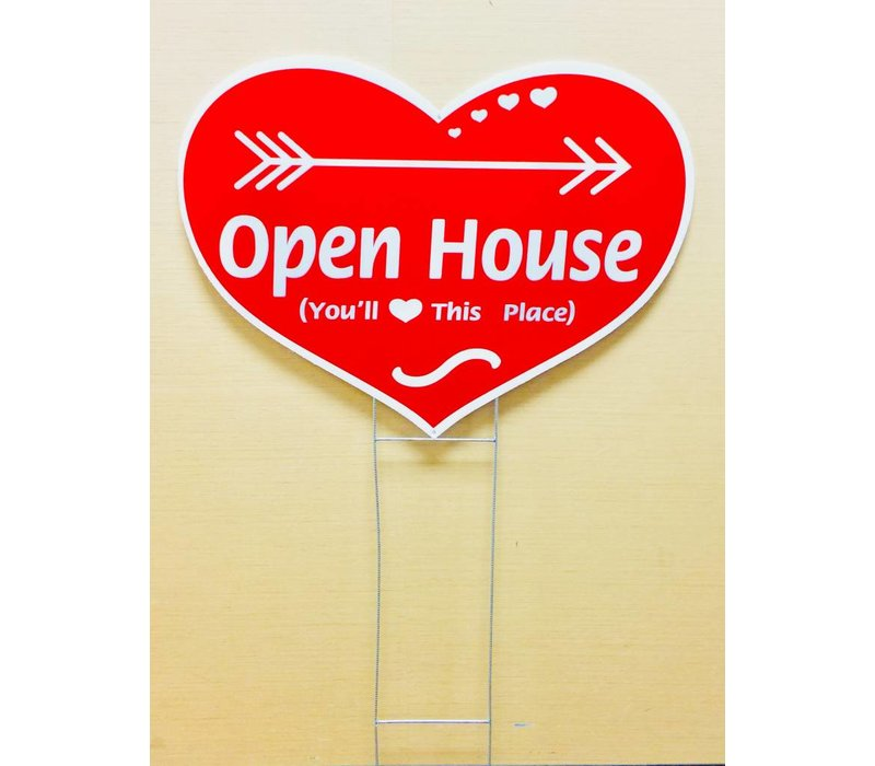 Sign - Heart Shape w/Stake - Open Hse