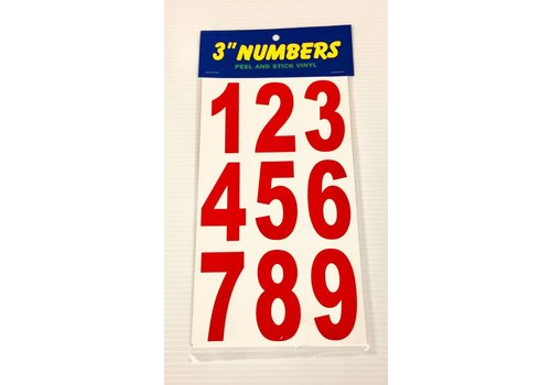"""Numbers -  3"""" - Red"""