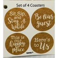 Coaster Set - Love Home - 4pc - Cork