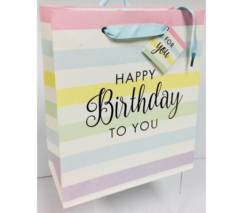 Gift Bag - Rainbow Stripes - Pastel