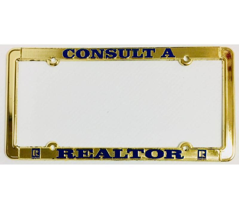 Realtor R License Plate Frame - Brass