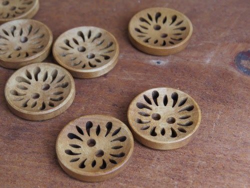 "Big Bad Wool Etched Wood 7/8"" buttons"