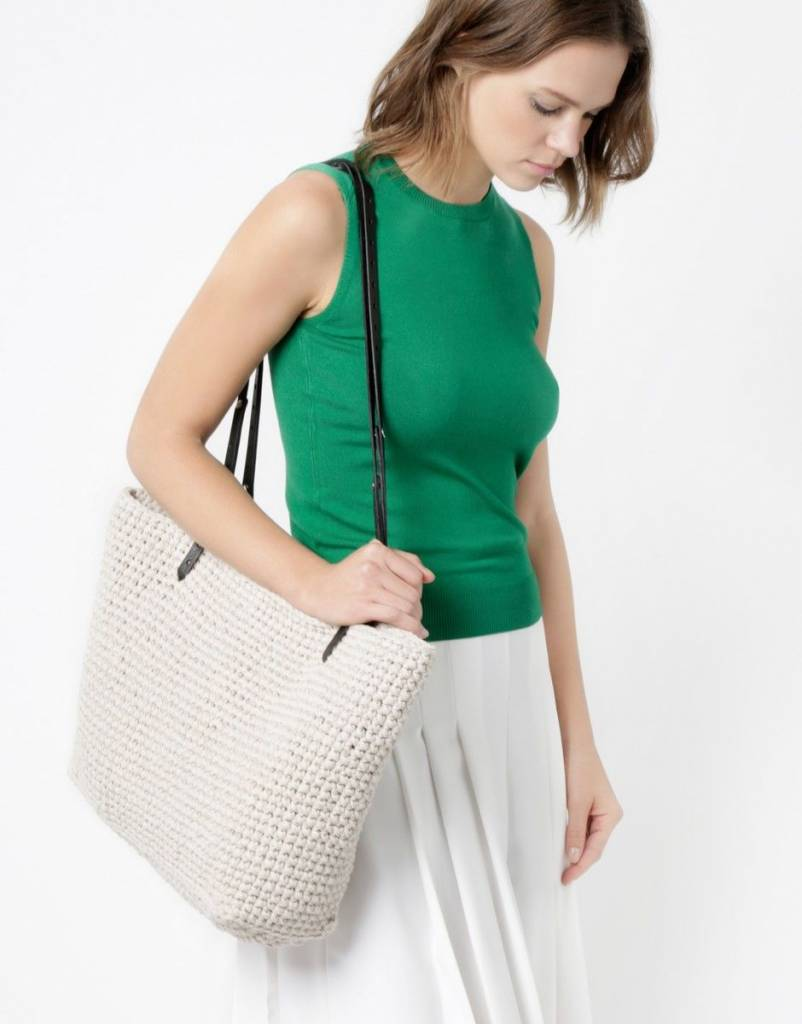 Carrie On Tote Kit White Noise / Black Leather