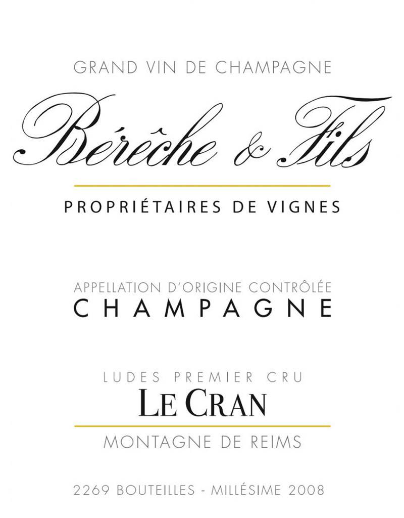 Bereche et Fils 'Le Cran' Ludes Premier Cru Brut Nature Millesime, Champagne