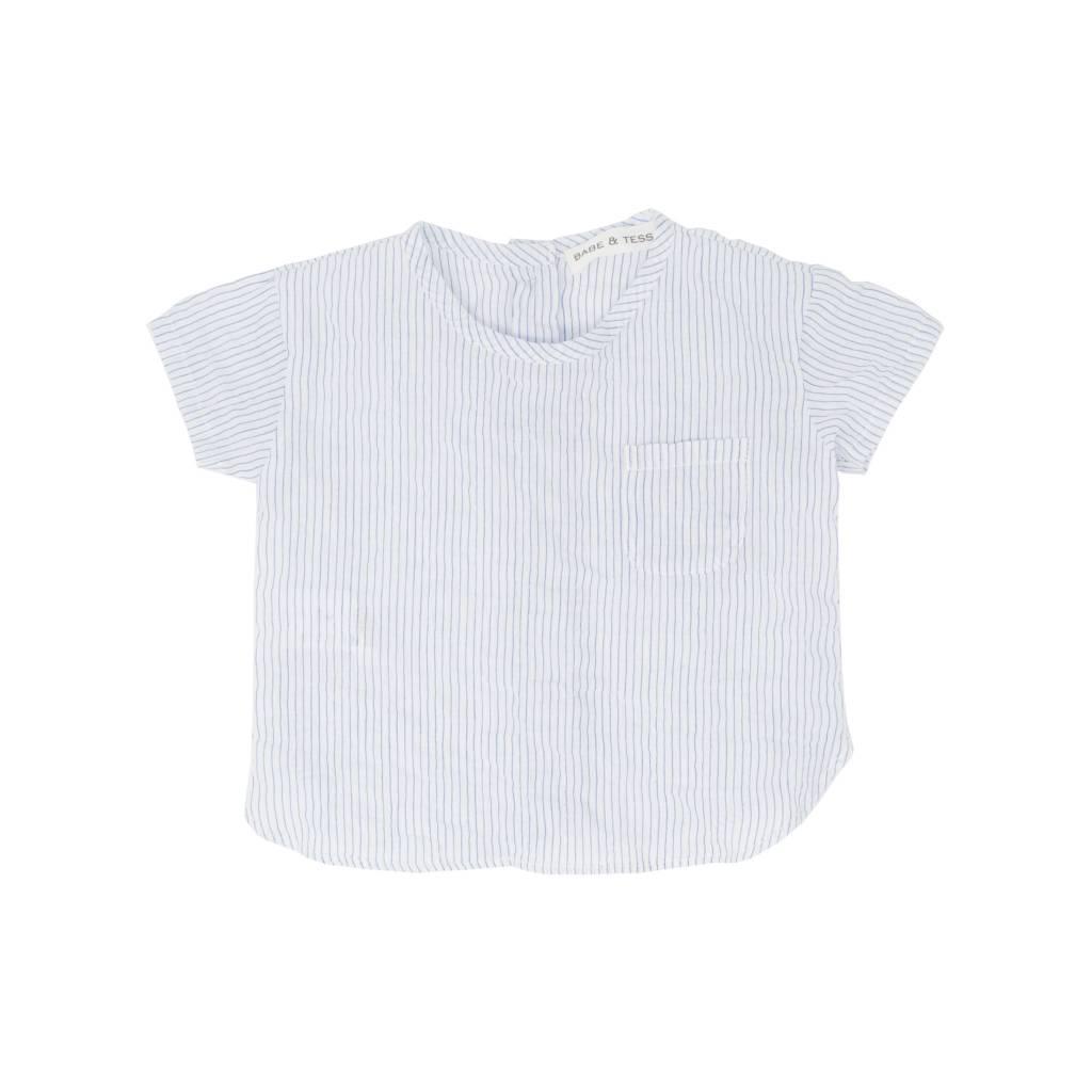 Babe & Tess Vertical striped blue shirt