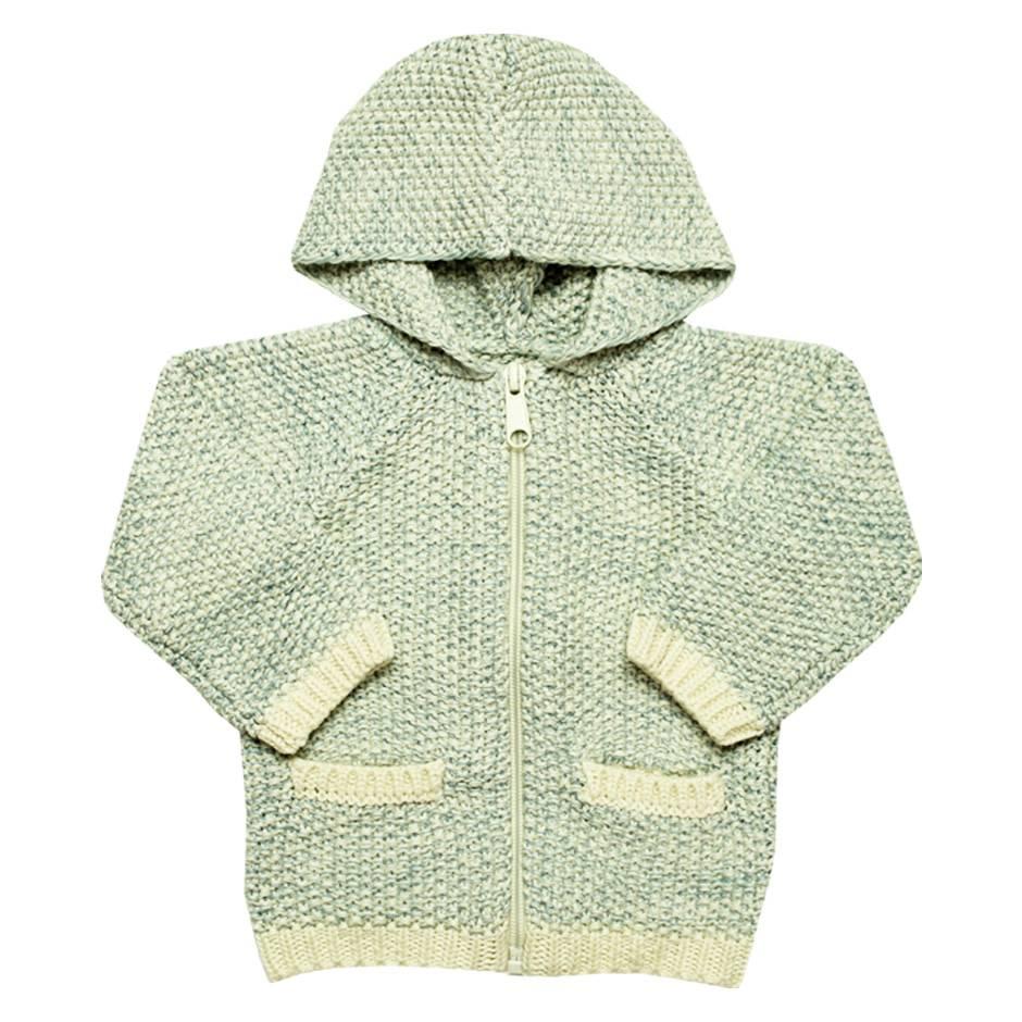 la petite collection Hooded coton cardigan blue
