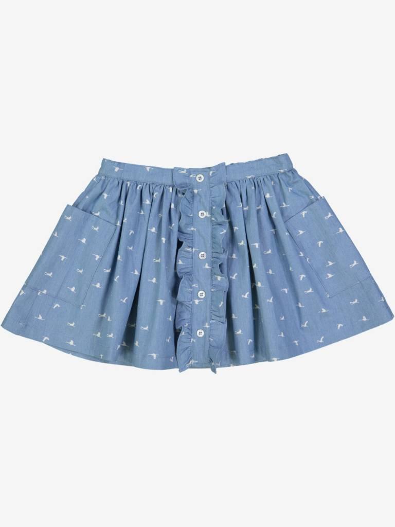 Petite Lucette Francine skirt birds denim