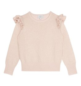 Wild & Gorgeous Lurex Ruffle Jumper - Shell Pink