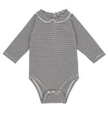 Gray Label Onesie with collar grey/cream stripe