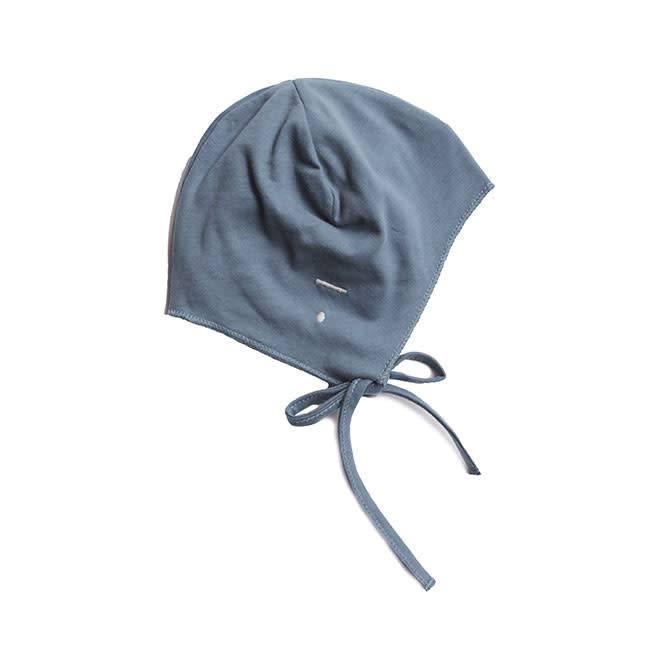 Gray Label Baby Hat w strings blue grey