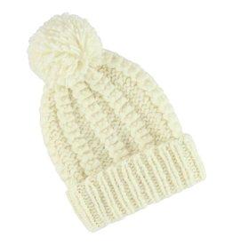 Aymara Hand-knit Runtu hat Ecru