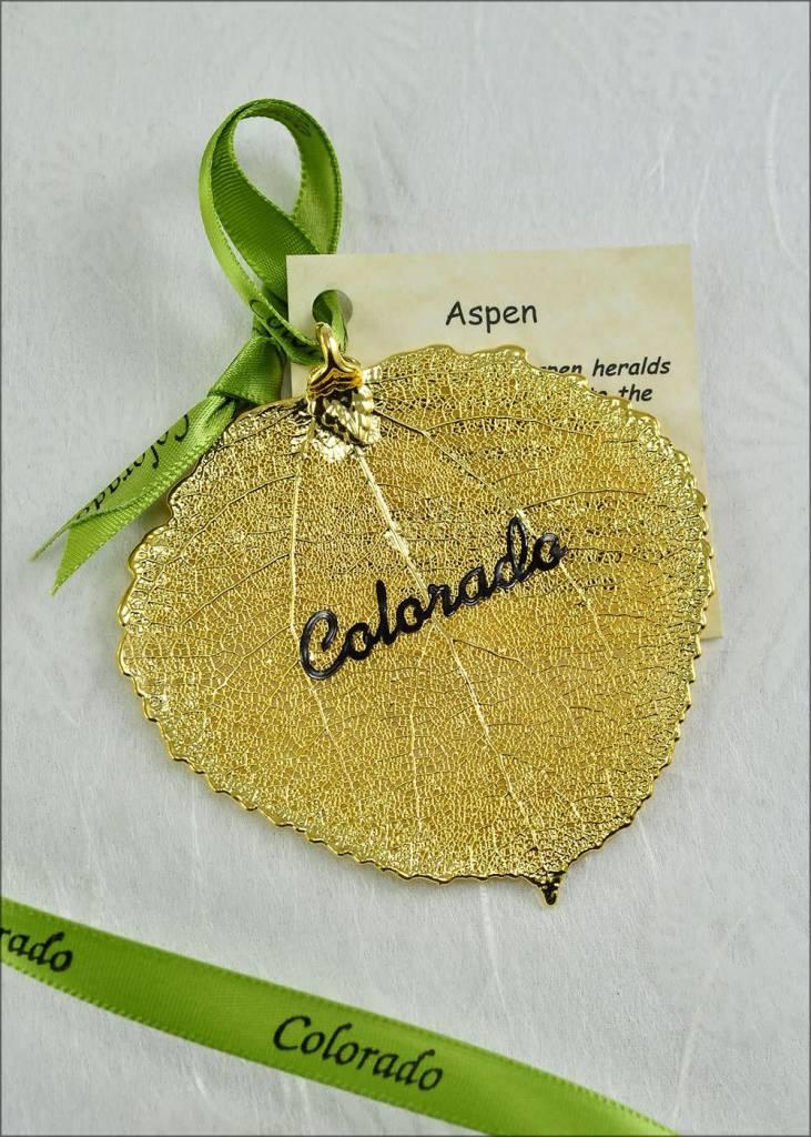 The Rose Lady Gold Colorado Aspen Leaf