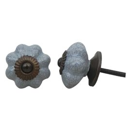 New Ceramic Melon Knob – Grey Crackle