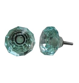 New Faceted Glass Knob – Mint Green