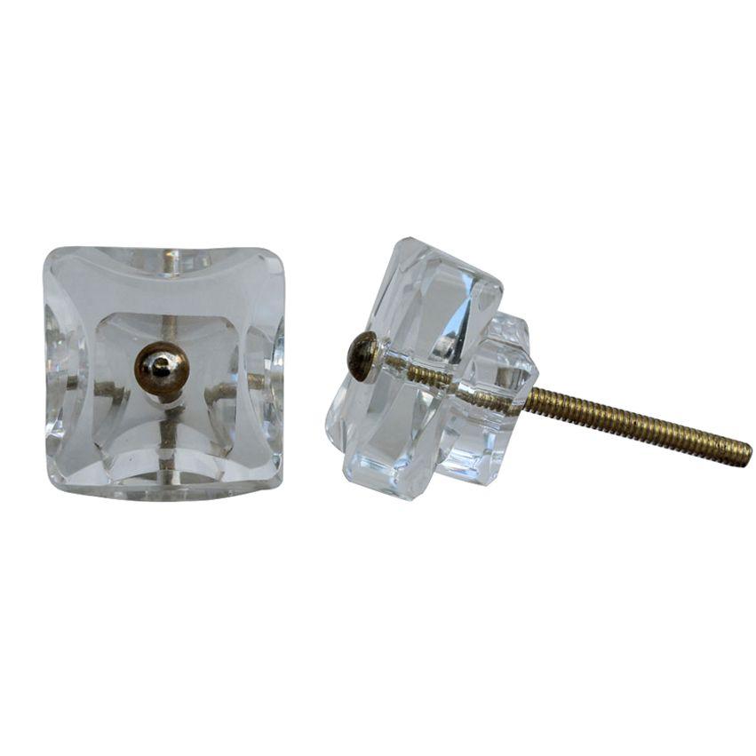 New Square Glass Knob - Clear