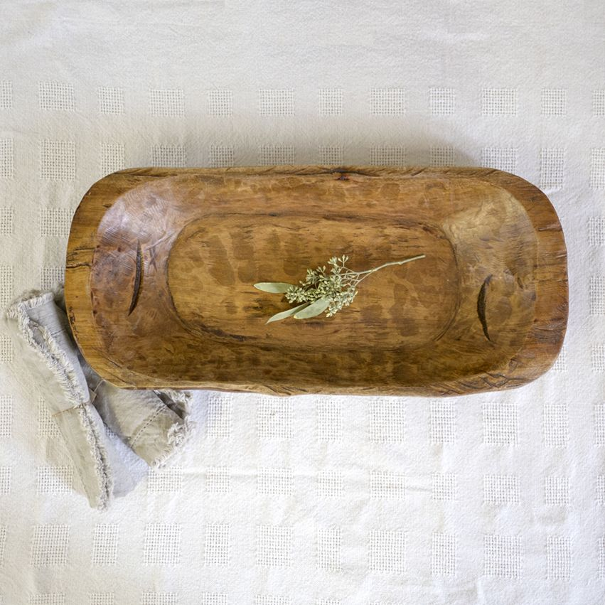 Found Carved Wood Dough Bowl