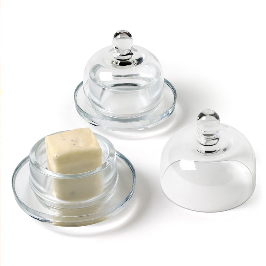 New Round Glass Butter Dish