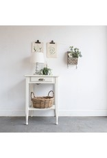 Found White Side Table with Drawer