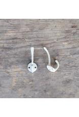 New Cast Iron Mini Double Hook - White