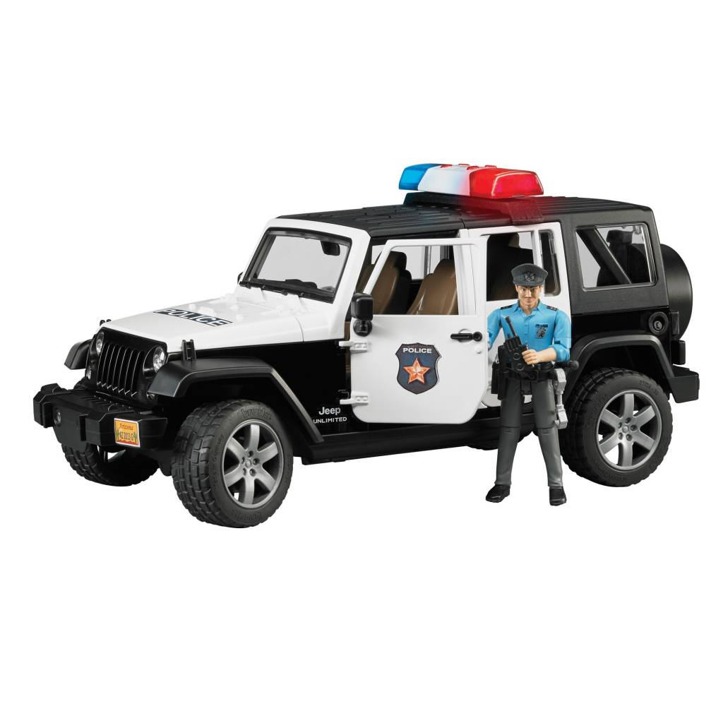 jeep wrangler unlimited rubicon police vehicle with policeman and