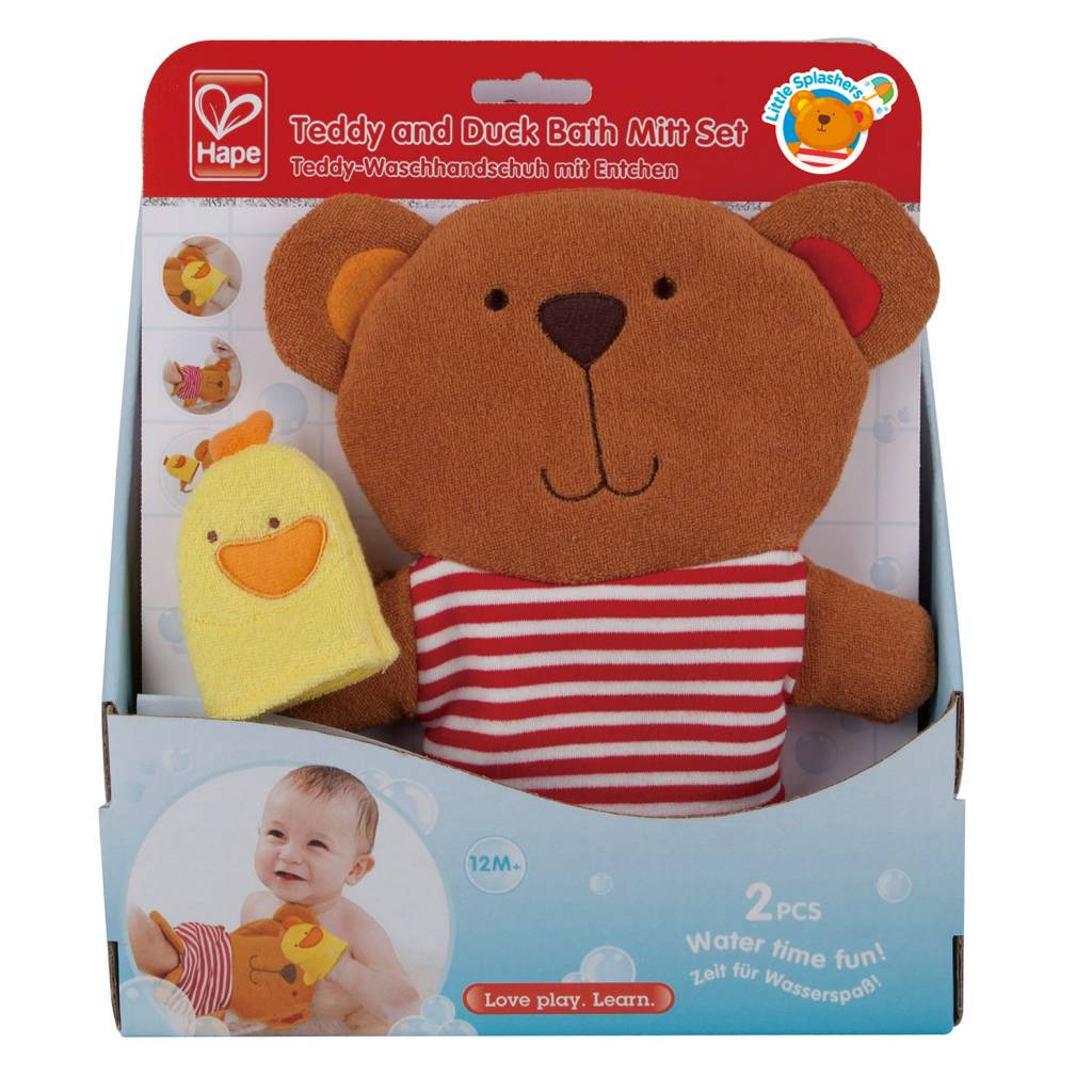 Hape HAPE TEDDY AND DUCK BATH MITT SET
