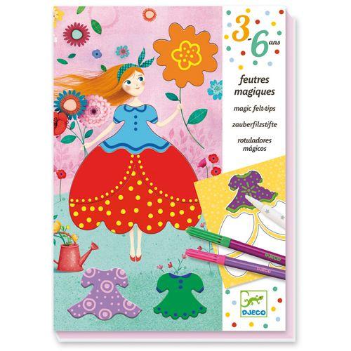 Djeco Djeco 09886 - Magic felt-tips / Marie's pretty dresses