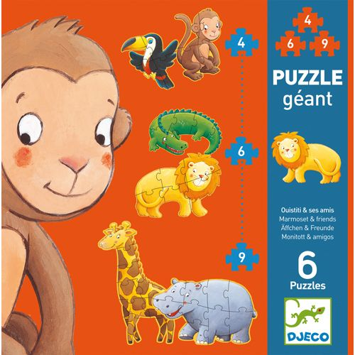 Djeco Djeco 07114  Giant Puzzle/Marmoset and friends/ 4,6,9 pcs