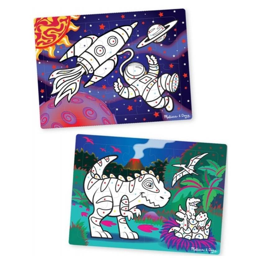 Melissa and Doug Melissa & Doug 08824 Easy-to-see 3D Marker Puzzle Space & Dinosaurs